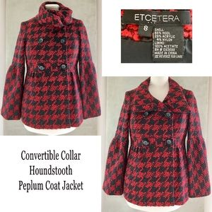 ETCETERA Wool Blend Houndstooth Peplum Coat Jacket